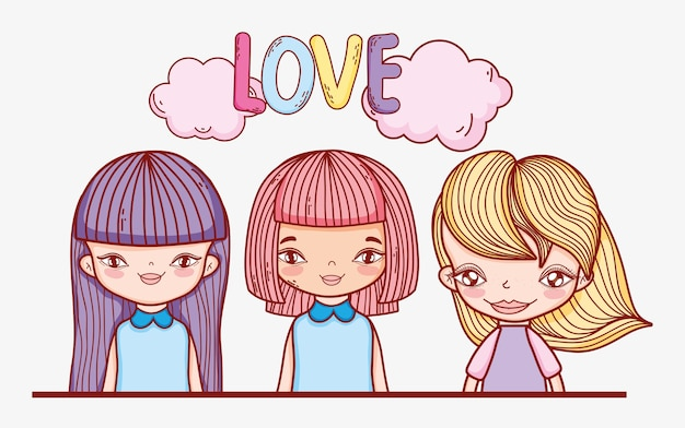 Beauty girls hairstyle with clouds and love message