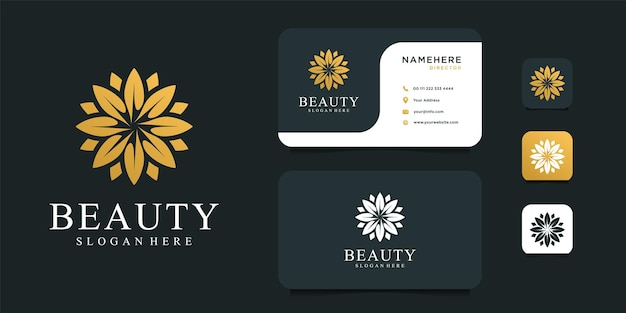 名刺テンプレートと美容ゴールドの花のロゴのデザイン。