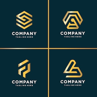 Beauty gold logo collection, letter, construction, business, finance, gold
