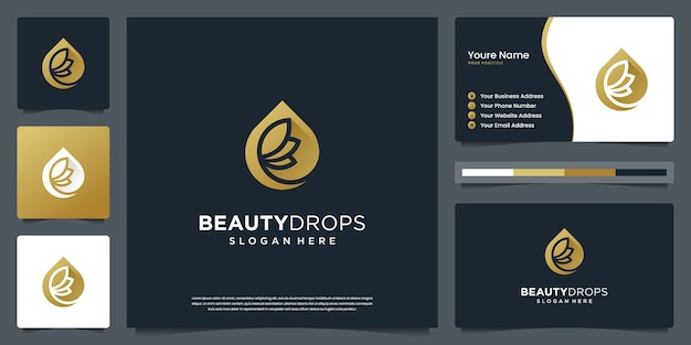 ビューティーゴールドウォータードロップとオリーブオイルホワイトの豪華な葉のロゴと名刺のデザイン