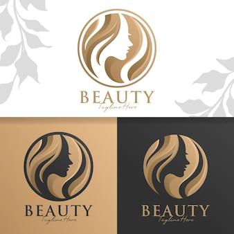 Beauty gold woman logo template