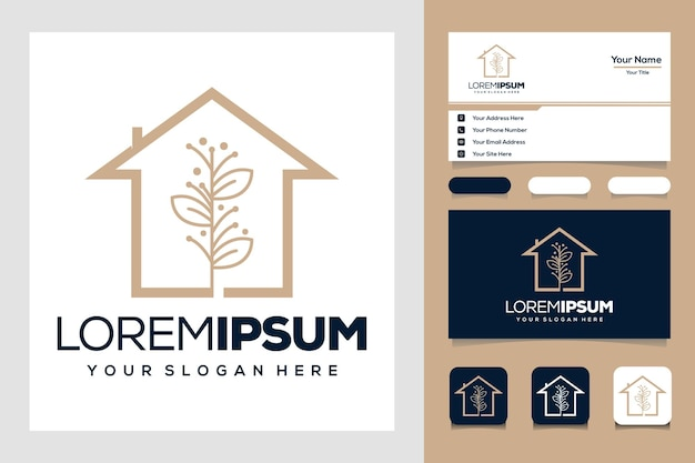 Beauty golden leaf and house whit line logo design and business card