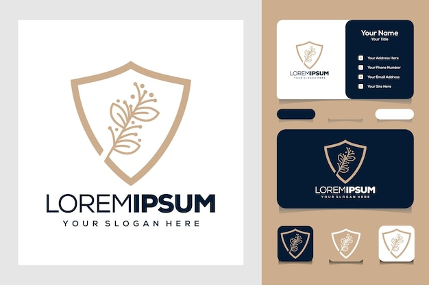 Beauty golden leaf and shield whit line logo design and business card