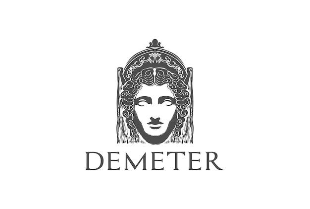 Beauty greek roman myth woman god goddess head sculpture logo design vector