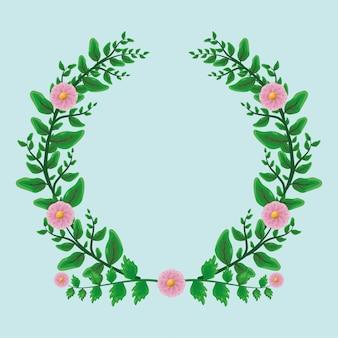 Beauty green leaves laurel wreath ornament with pink flowers over flat