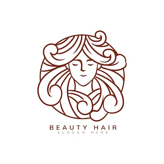 Шаблон логотипа красоты волос