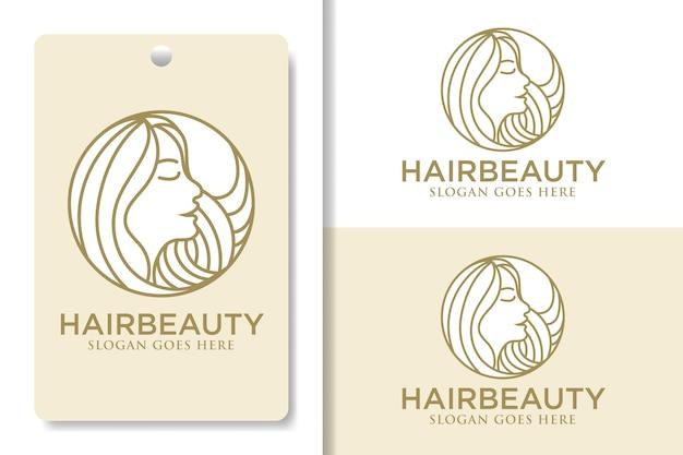 Красота волосы женщина с кругом lineart логотип шаблон