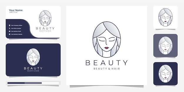 Beauty hair women logo design inspiration with business card.beauty, skin care, salons and spa, with line art style .