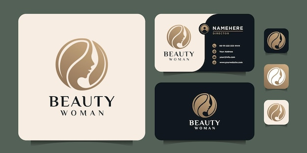 Beauty hairstyle woman face nature fashion silhouette logo design