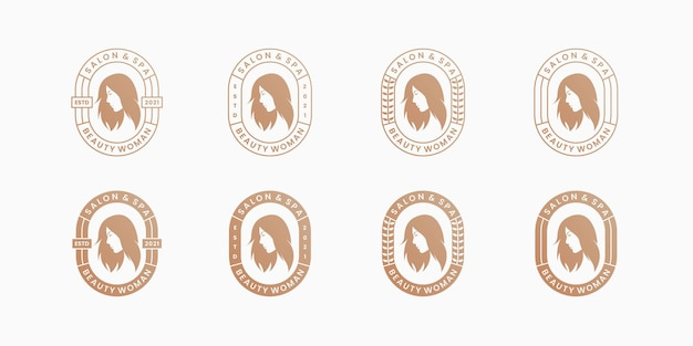 Beauty hairstyle woman saloon and spa logo design badge retro style.