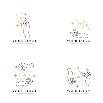 Beauty hand boho card poker gold logo editable template collection set