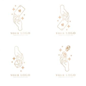 Beauty hand boho card poker gold logo editable template collection set