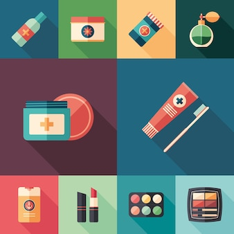 Beauty and health flat square icons set.