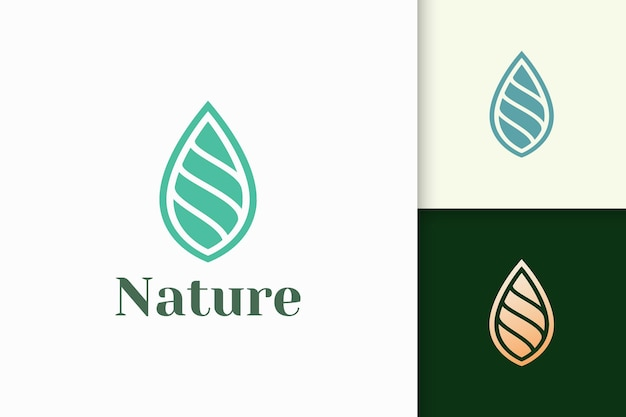 Beauty or health logo in simple leaf shape represent nature