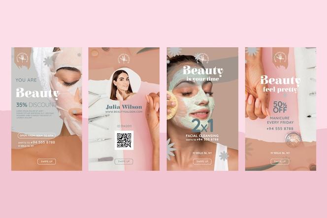 Storie di instagram di salone di bellezza e salute