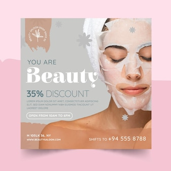 Beauty and healthy salon square flyer