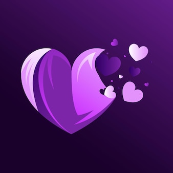 Beauty heart colorful logo abstract design