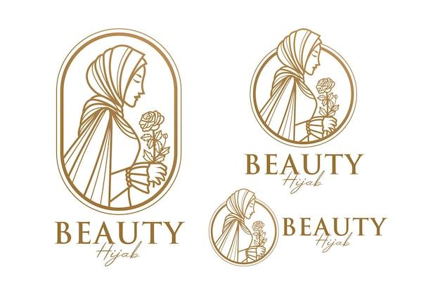 美しさヒジャーブゴールド女性ロゴテンプレート