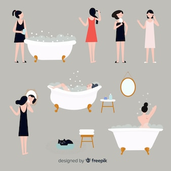 Set di azioni di bellezza e igiene