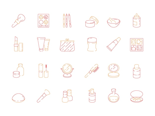 Beauty icons. makeup items for women lipstick nail polish cream eyeshadows cosmetics vector colored symbols