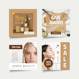 Beauty instagram post pack flat design