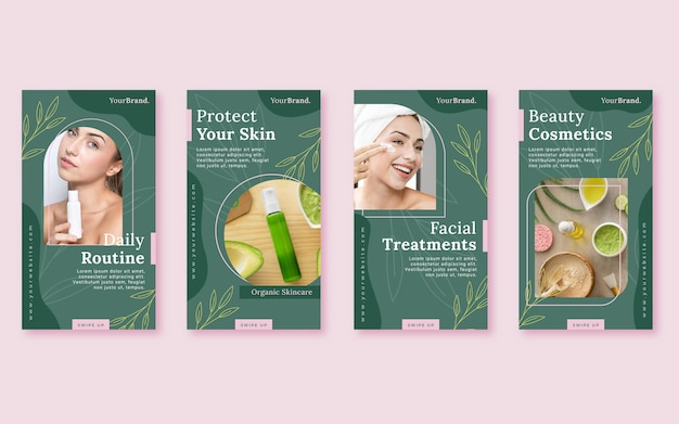 Beauty instagram story collection flat design