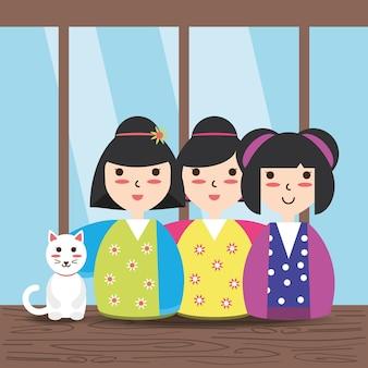 Beauty japanese women with kimono and cat