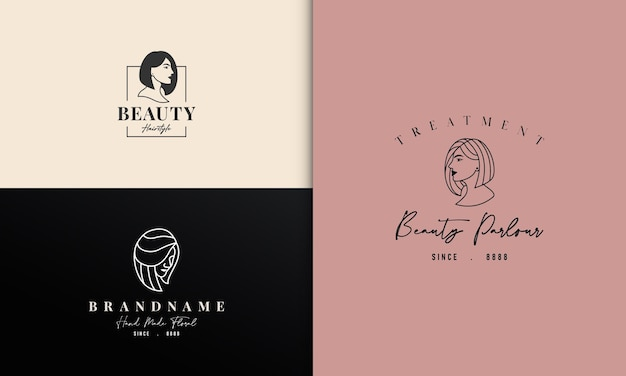 Beauty lady with short neat hair logo design