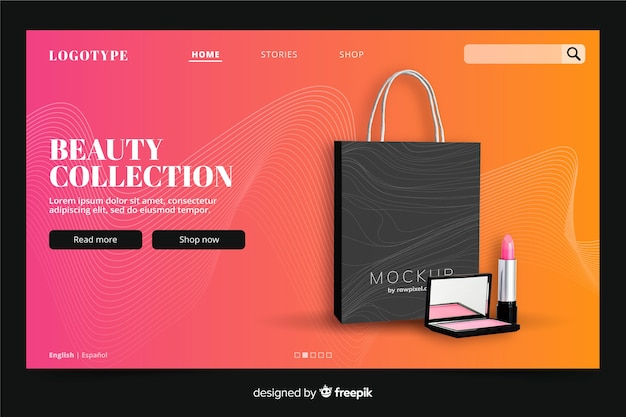 Beauty landing page template with photo