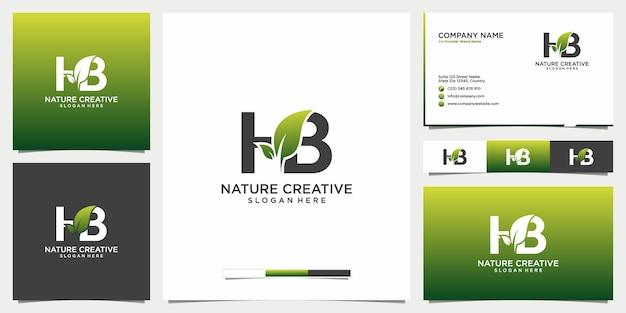 아름다움 잎과 편지 hb 로고 명함 아이콘 및 템플릿