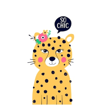 Beauty leopard illustration with speech bubble that says so chic on white background
