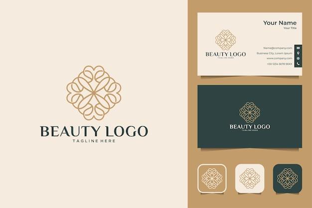 Дизайн логотипа красоты линии искусства и визитная карточка