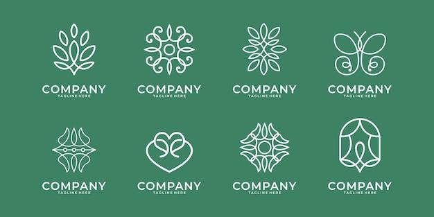 뷰티 라인 아트 로고 디자인. 스파, 미용, 살롱, 요가 로고에 적합