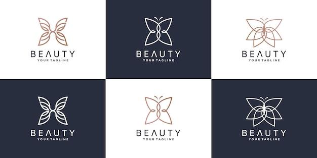 Набор косметических логотипов с концепцией бабочки premium векторы