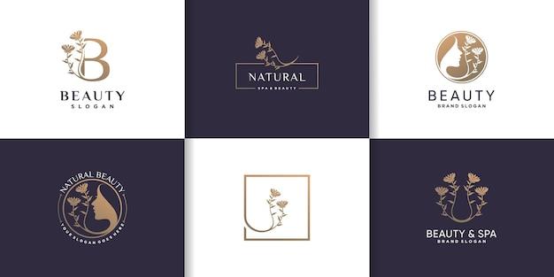 Коллекция логотипов красоты с концепцией креативного элемента premium векторы