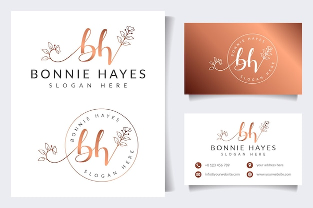 Коллекция логотипов красоты с шаблоном визитной карточки
