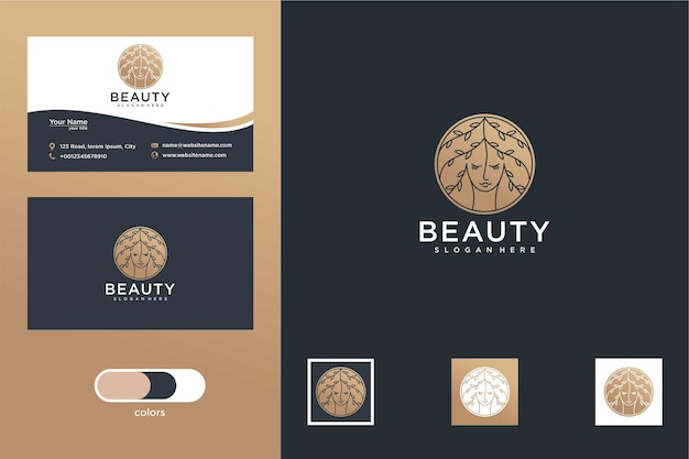 Дизайн логотипа красоты и визитная карточка