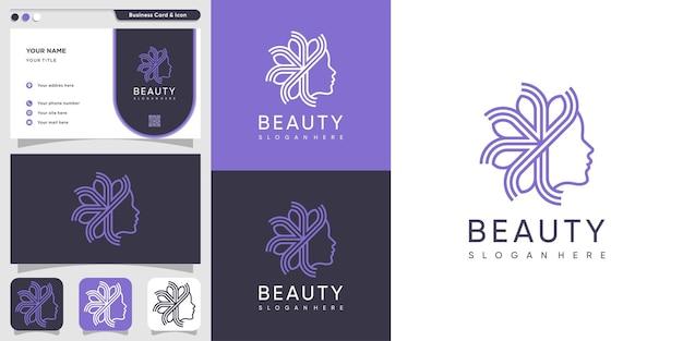 Логотип красоты для женщины с креативным стилем premium design
