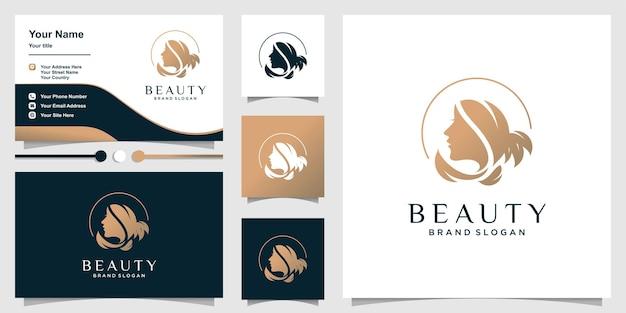 Логотип красоты для женщины с уникальной концепцией и шаблоном визитной карточки