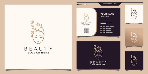Beauty logo and rose flower with unique modern concept and business card design premium vector