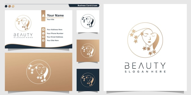 Beauty logo for salon with modern style premium vector