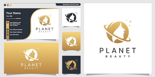 Beauty logo with golden planet concept and business card design template