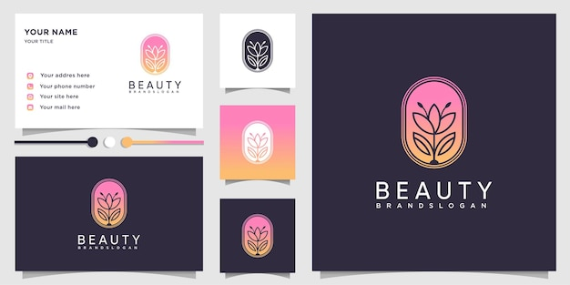 Beauty logo with modern gradient concept and business card design template