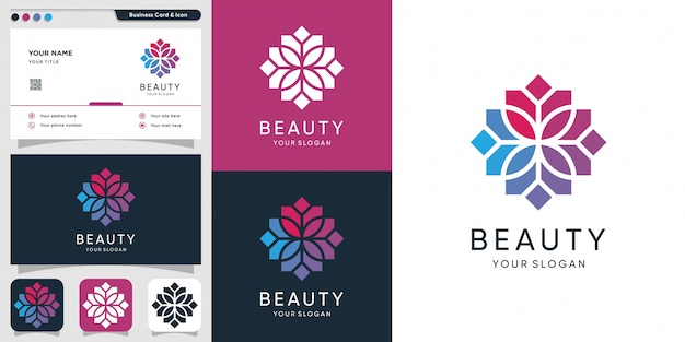 Beauty logo with mozaic concept and business card design, spa, beauty, health, woman, icon
