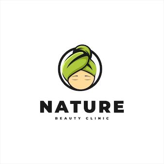 Логотип красоты с естественным процессом лечения Premium векторы