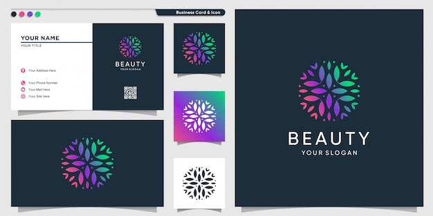 Beauty logo with unique shape gradient color and business card design template