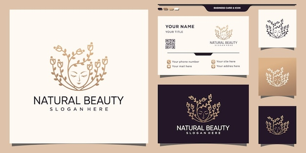 Beauty logo with woman face and rose flower line style and business card design premium vector