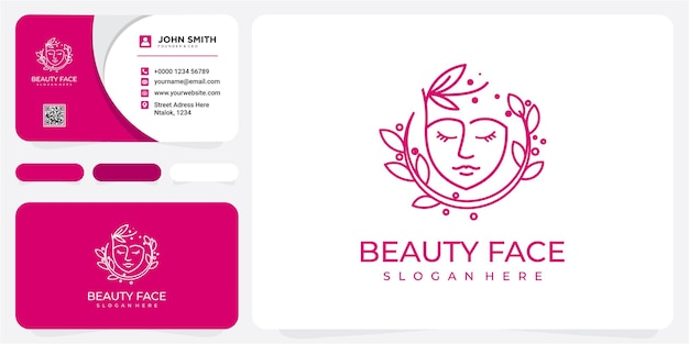 Beauty logo with woman inside circle style and business card design template, flower, logo, woman,