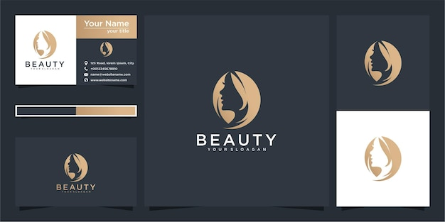 Beauty logo for woman with modern concept and business card design