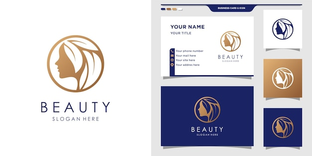 Beauty logo woman with unique concept and business card design
